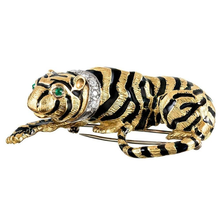 Enamel, Diamond and Emerald Tiger Brooch