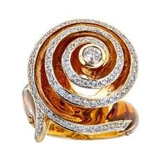 Enameled 18 Karat Yellow Gold and 0.69 Carat Diamond Ring