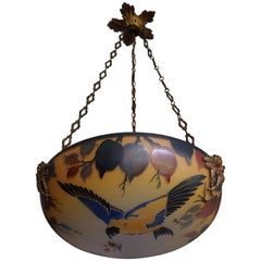 Enameled and Hand Painted Bird & Butterfly Chandelier / Pendant by David Gueron