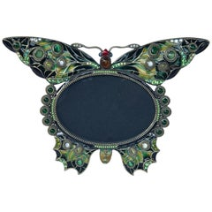 Enameled and Jeweled Butterfly Frame, in the Manner of Jay Strongwater