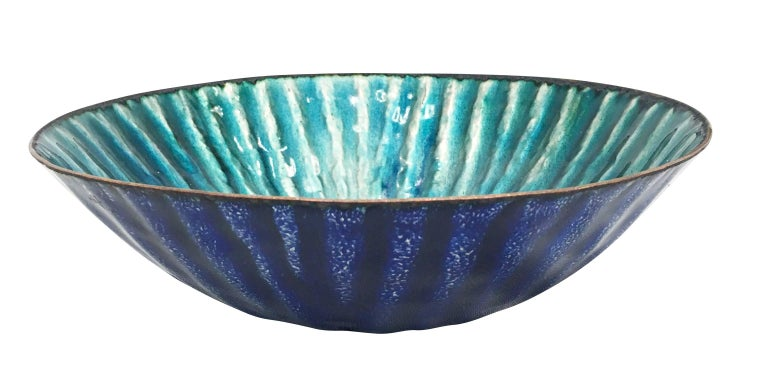 "Enameled bowl by Paolo DePoli from the 1960s. Signed on the bottom.  Condition: Excellent vintage condition, minor wear consistent with age and use  Diameter: 9.5""  Height: 2.75"""