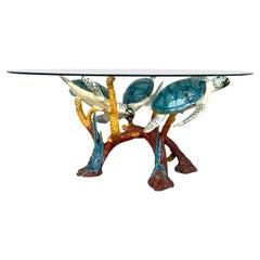 Enameled Bronze Sea Turtle Coffee Table