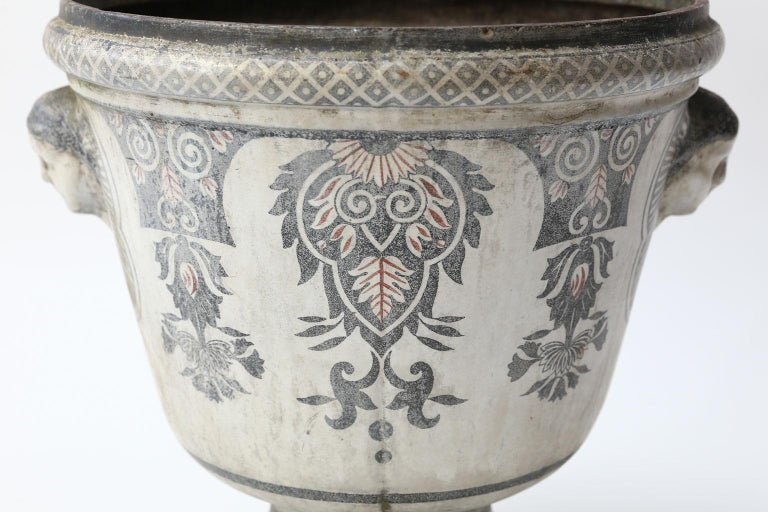 French Provincial Enameled Cast Iron Rouen Urn For Sale