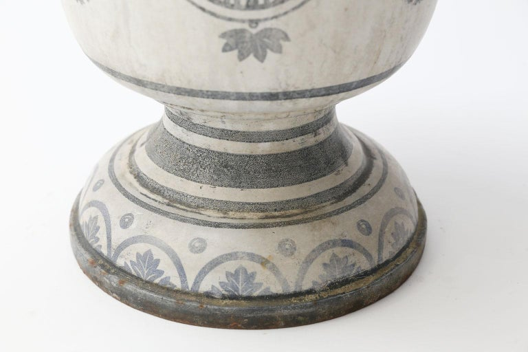French Enameled Cast Iron Rouen Urn For Sale