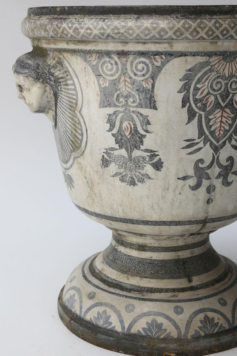 Enameled Cast Iron Rouen Urn In Good Condition For Sale In Houston, TX