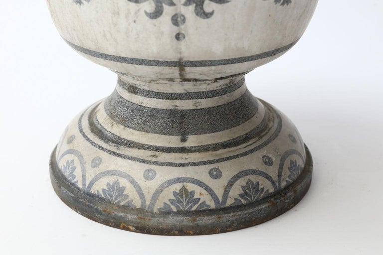 19th Century Enameled Cast Iron Rouen Urn For Sale