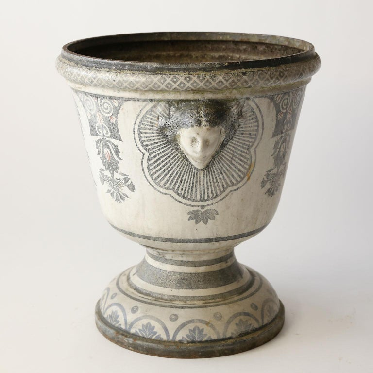 Enameled Cast Iron Rouen Urn For Sale 2