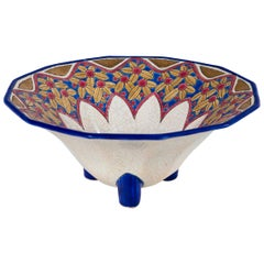 French Enameled Ceramic Footed Bowl, Emaux de Longwy, circa 1930