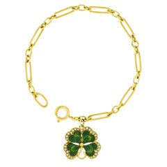 Enameled Clover Charm on a Gold Bracelet