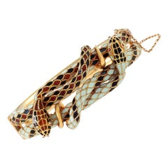 Enameled Double Serpent Bangle Bracelet