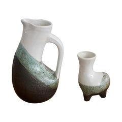 Enameled Earthenware Jug and Vase by Gilbert Valentin