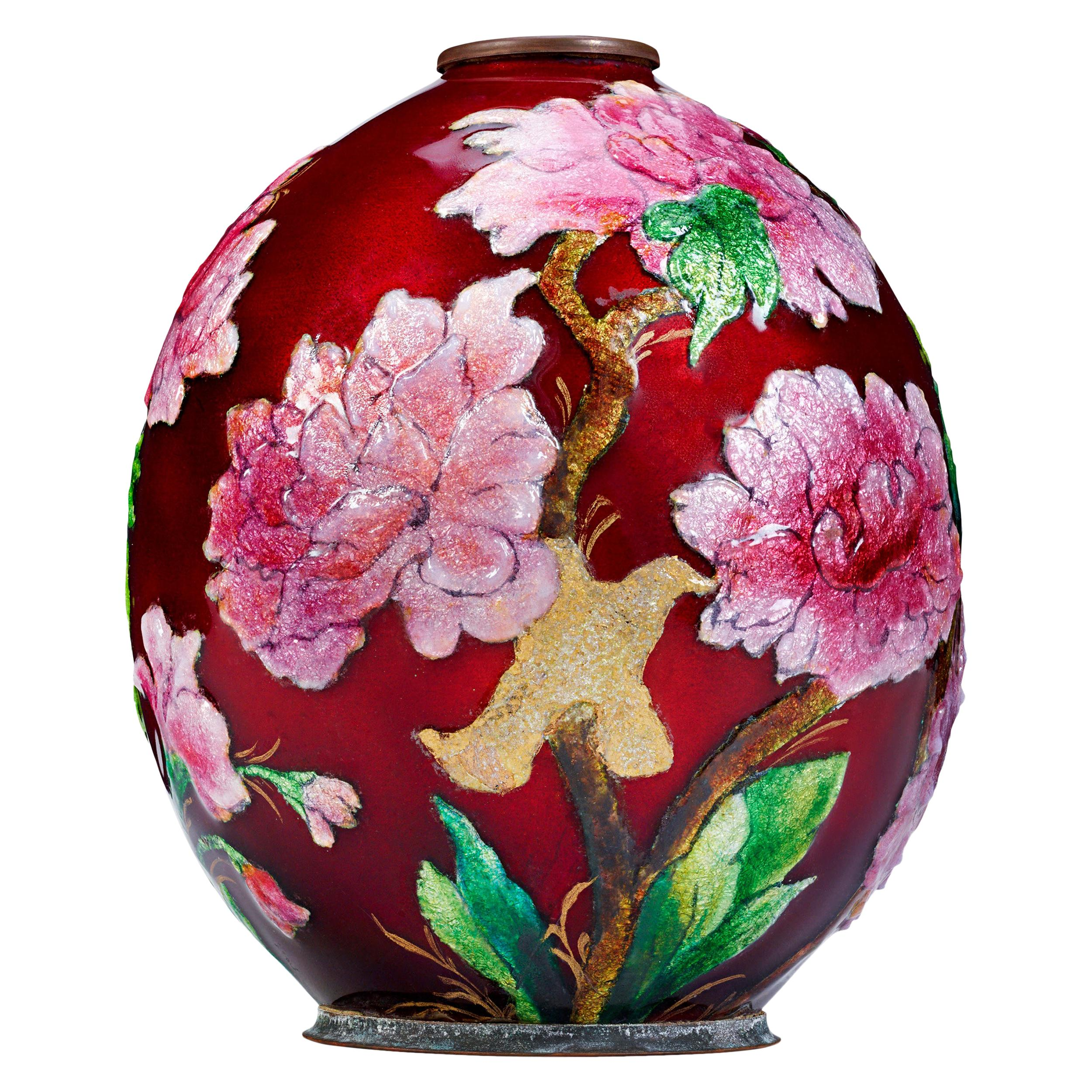 Enameled Floral Vase by Camille Fauré