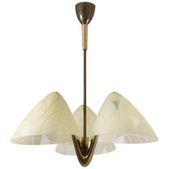 Enameled Glass and Brass Chandelier, circa 1950