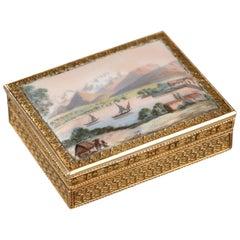 Enameled Gold Vinaigrette, Early 19th Century Work