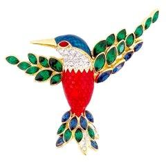 Enameled Hummingbird Figural Brooch With Crystal Wings By Nolan Miller, 1990s