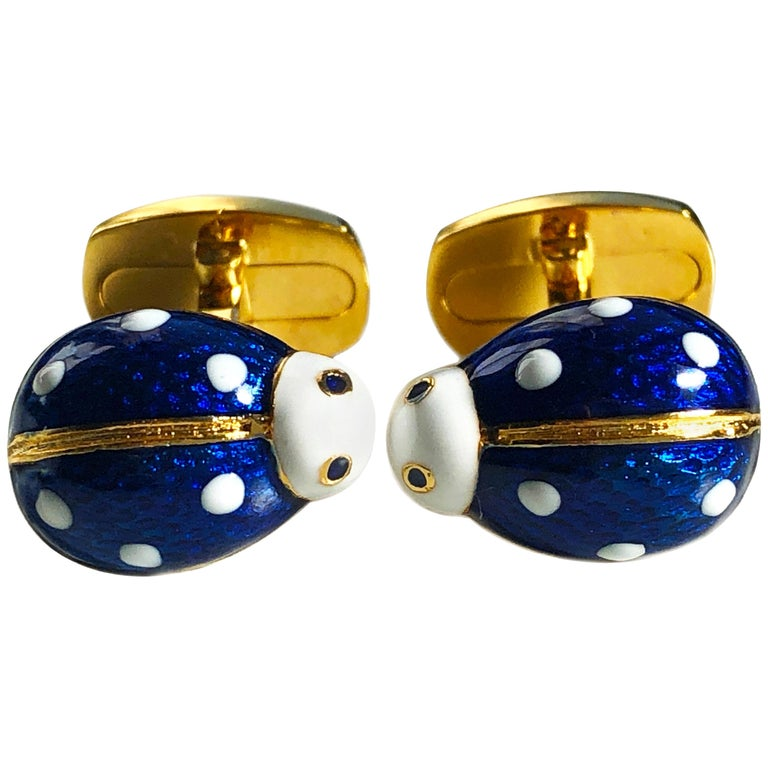 Enameled Ladybug Shaped T-Bar Back Sterling Silver Gold-Plated Cufflinks For Sale