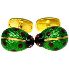Enameled Ladybug Shaped T-Bar Back Sterling Silver Gold-Plated Cufflinks