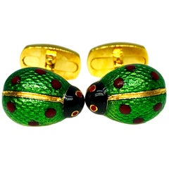 Berca Enameled Ladybug Shaped T-Bar Back Sterling Silver Gold-Plated Cufflinks