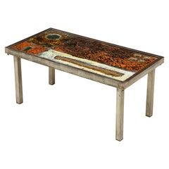 Enameled Lava Coffee Table by Robert and Jean Cloutier, France, circa 1950