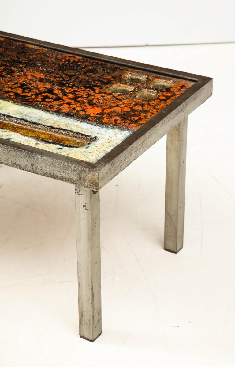 Enameled Lava Coffee Table by Robert and Jean Cloutier, France, circa 1950 For Sale 4
