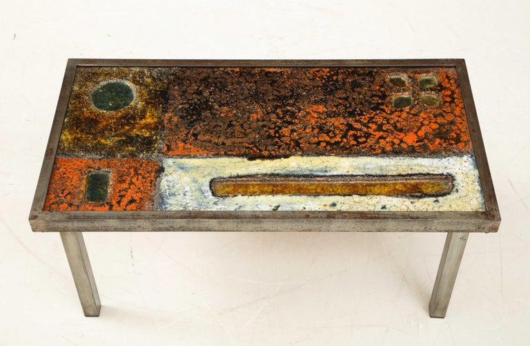 Mid-Century Modern Enameled Lava Coffee Table by Robert and Jean Cloutier, France, circa 1950 For Sale