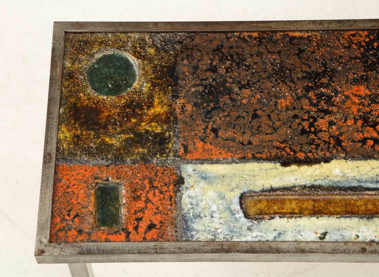 Enameled Lava Coffee Table by Robert and Jean Cloutier, France, circa 1950 In Good Condition For Sale In New York City, NY