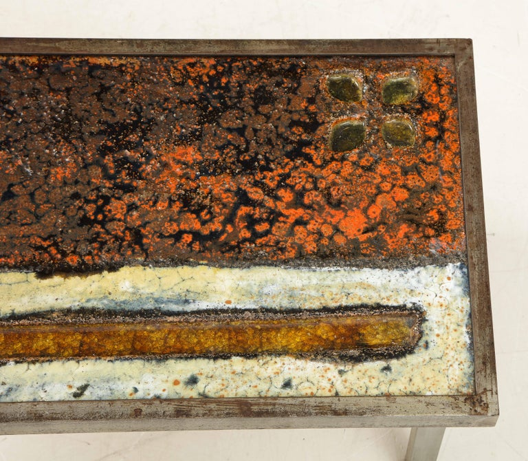 Mid-20th Century Enameled Lava Coffee Table by Robert and Jean Cloutier, France, circa 1950 For Sale