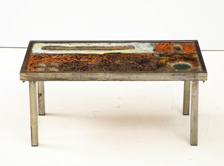 Enameled Lava Coffee Table by Robert and Jean Cloutier, France, circa 1950 For Sale 1