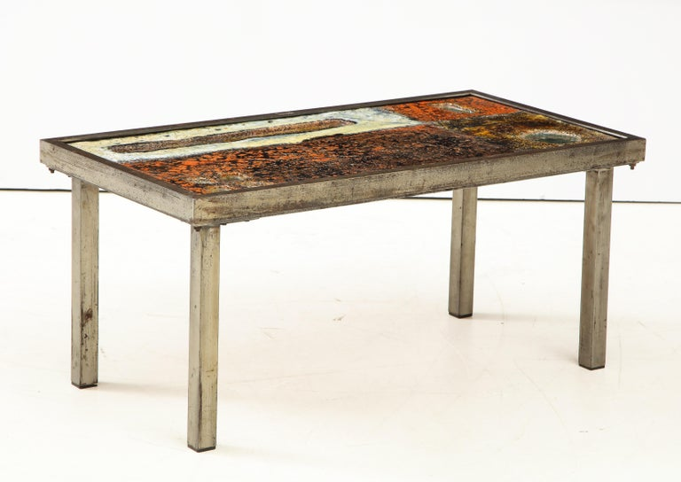 Enameled Lava Coffee Table by Robert and Jean Cloutier, France, circa 1950 For Sale 2