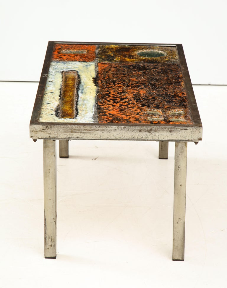 Enameled Lava Coffee Table by Robert and Jean Cloutier, France, circa 1950 For Sale 3