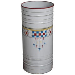 Enameled Mid-Century Modern Umbrella Stand w. Hand Painted Boogy Woogie Patterns