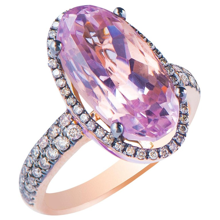 Enameled Oval Kunzite and Brown Diamond Rose Gold Ring For Sale