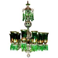 Enameled Overlay 12-Light Emerald Green Chandelier by F & C Osler