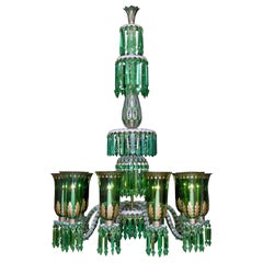 Enameled Overlay Ten-Light Emerald Green Chandelier by F. & C