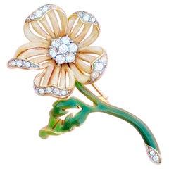Enameled Peach Flower Figural Brooch w Swarovski Crystals by Nolan Miller, 1980s