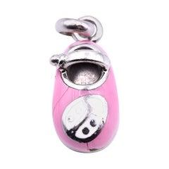 Enameled Pink 14 Karat Yellow Gold Ladybug Shoe Charm Pendant