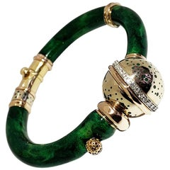 Enameled Red and Green Navy on a Pink Gold 18 Karat Bangle