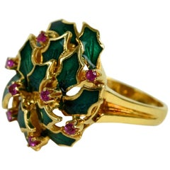 Enameled Ring, Holly and Berry Decoration Set with Pink Topaz in 18K Gold