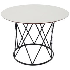 Enameled Top Faux Bamboo Base Mid-Century Modern Dining Dinette Table