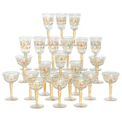 Enameled Venetian Glass Stemware or Group of 23 Pieces