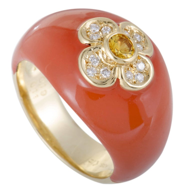 Enameled Yellow Sapphire and Diamond Gold Band Ring