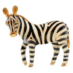 Enameled Zebra Brooch by Ciner, Signed
