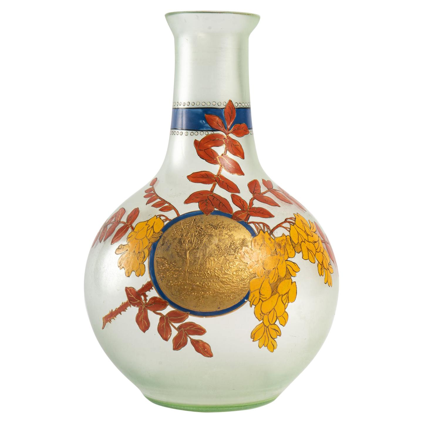 Enamelled Glass Vase, Early 20th Century