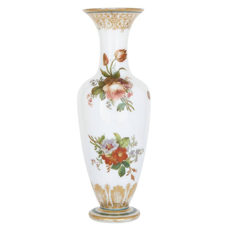 Prestigious French glassmakers Baccarat - responsible for some of the most beautiful glassware of the 19th century - were the manufacturers behind this stunning enamel-painted opaline glass vase. More specifically, it is likely that the enamelist