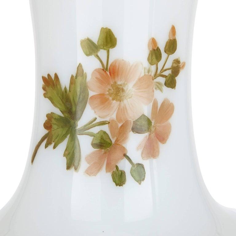 Belle Époque Enamelled Opaline Floral Glass Vase by Baccarat For Sale