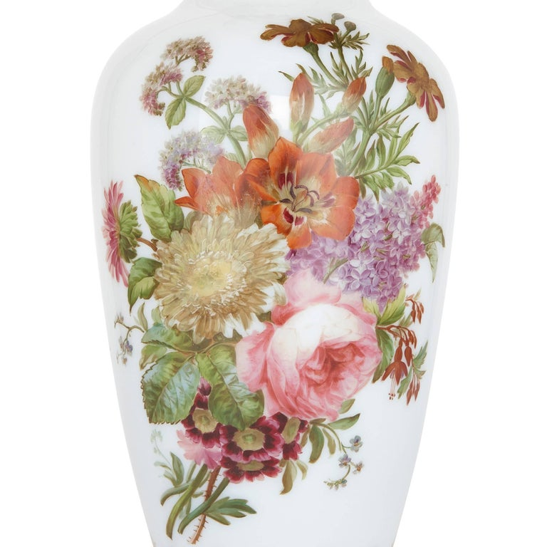 Hand-Painted Enamelled Opaline Floral Glass Vase by Baccarat For Sale