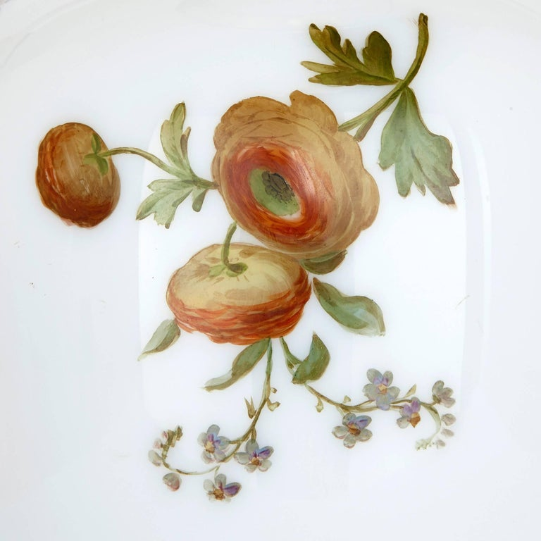 Enamelled Opaline Floral Glass Vase by Baccarat In Good Condition For Sale In London, GB