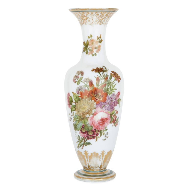 Enamelled Opaline Floral Glass Vase by Baccarat For Sale