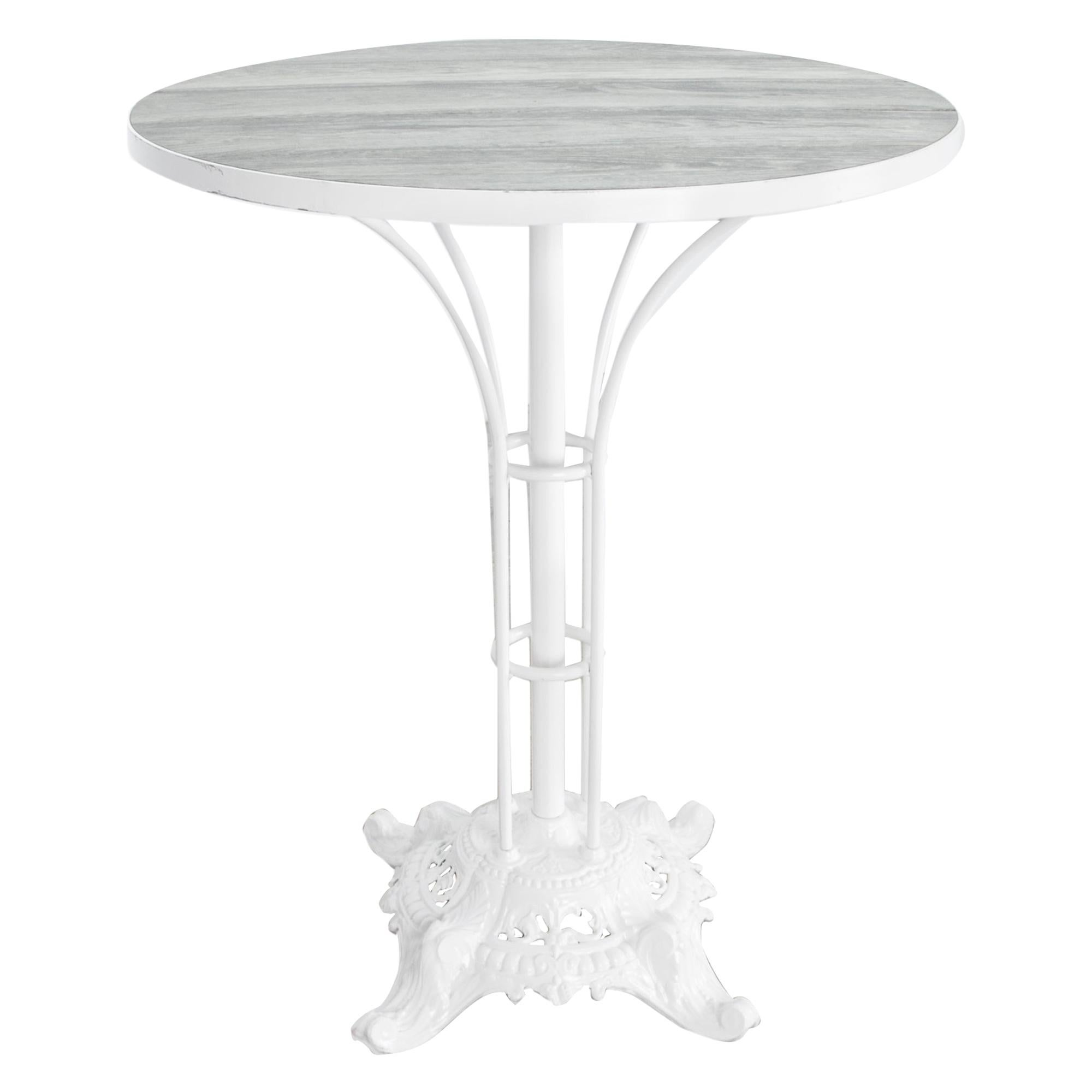 Enamelled Steel Table with Oak Top