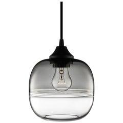 Encalmo Petite Gray-Crystal Handblown Modern Glass Pendant Light, Made in USA